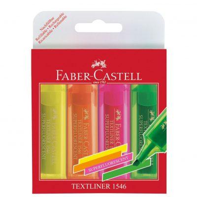 Tekstmarker Faber Castell 1546 assorti 4 delig etui