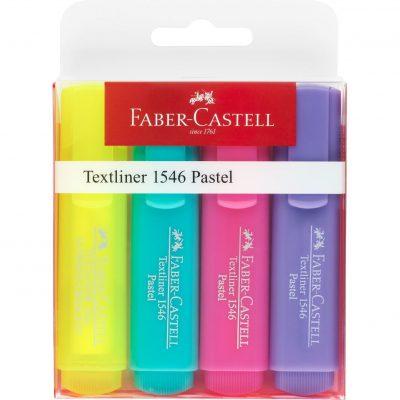Tekstmarker Faber Castell 1546 assorti 4delig etui pastelkleuren