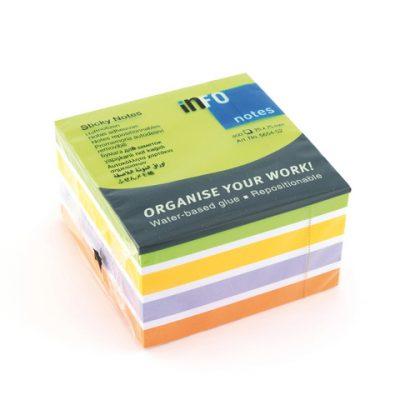info notes 75x75mm assorti Color Mix blok a 450 vel lime, wit, goud, violet, oranje